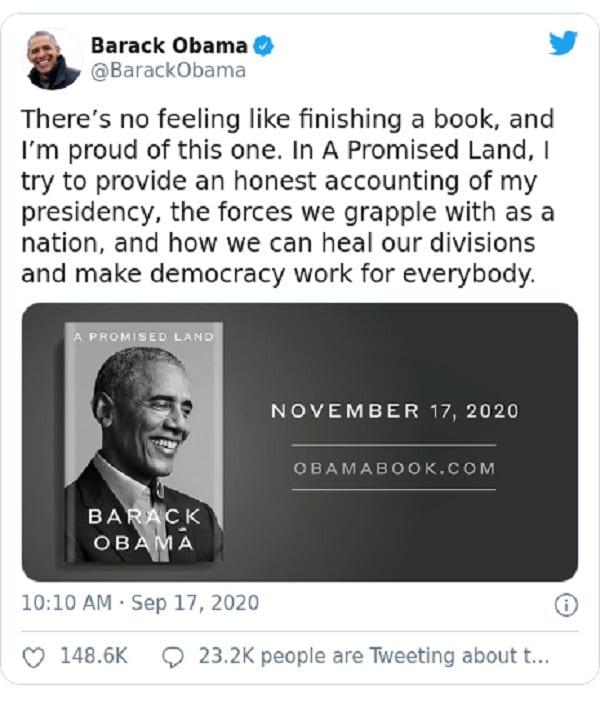 Barack Obama annonce la date de sortie de son nouveau mémoire
