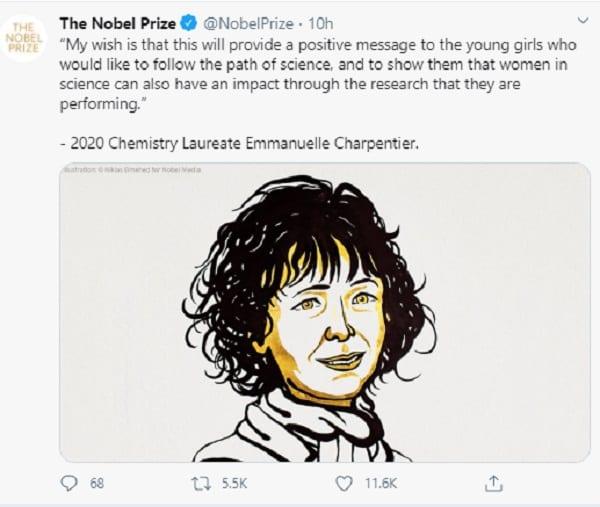 Prix Nobel de chimie : 2 femmes remportent le prix  pour la 1ère fois dans l'histoire