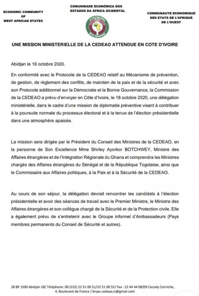 Côte d'Ivoire / Présidentielle 2020 : la CEDEAO dépêche une mission à Abidjan
