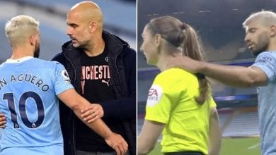 Photo de Man. City: Pep Guardiola réagit au geste d'Aguero sur une arbitre