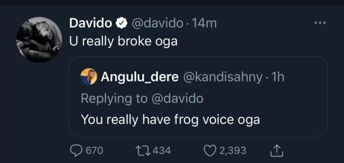 Davido répond à un fan qui qualifie sa voix, de voix de grenouille