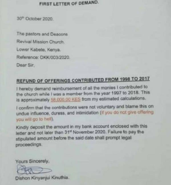 Un Kényan demande le remboursement de ses offrandes payées à son église pendant 21 ans