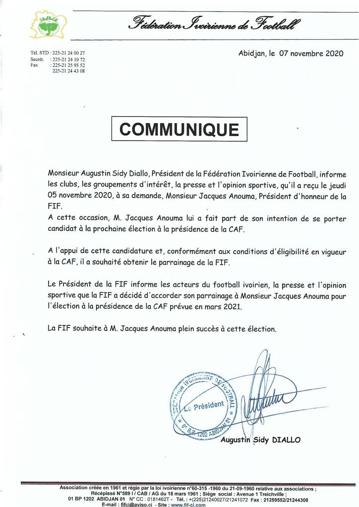 Présidence de la CAF : Jacques Anouma pour défier Ahmad Ahmad