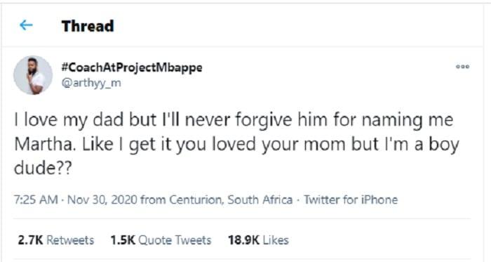 Un Sud-africain en colère contre son père pour l'avoir nommé Martha