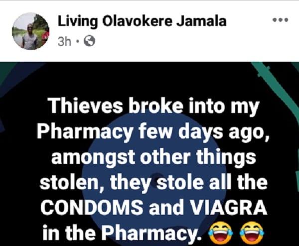 Nigeria: des voleurs braquent une pharmacie, emportent tous les préservatifs et du viagra