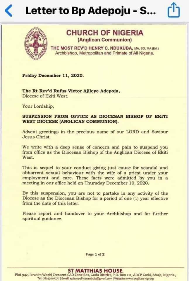 Nigeria: un évêque suspendu pour avoir couché avec la femme d'un prêtre