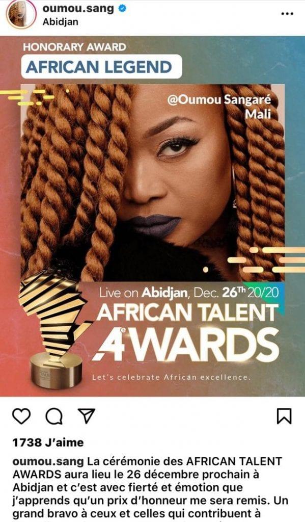 African Talent Awards: Oumou Sangare confirme sa présence à la prestigieuse soirée de distinction