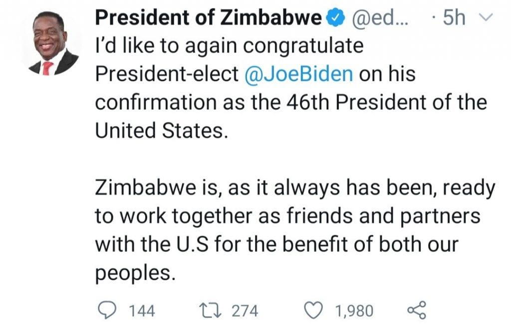 """""""Les USA n'ont aucun droit moral de punir une autre nation sous prétexte de défendre la démocratie»- le président zimbabwéen"""