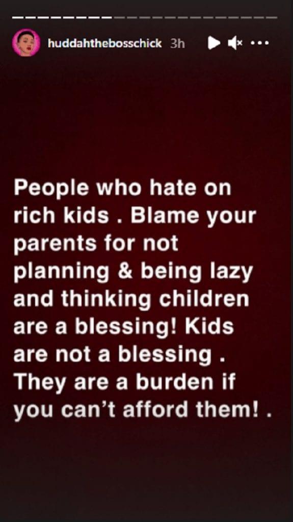 """Huddah Monroe: """"les enfants ne sont pas une bénédiction. Ils sont un fardeau"""""""