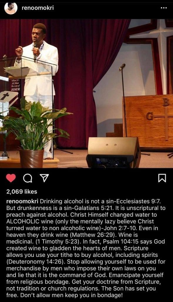 """Reno Omokri: """"un chrétien qui boit de l'alcool ce n'est pas un péché"""""""