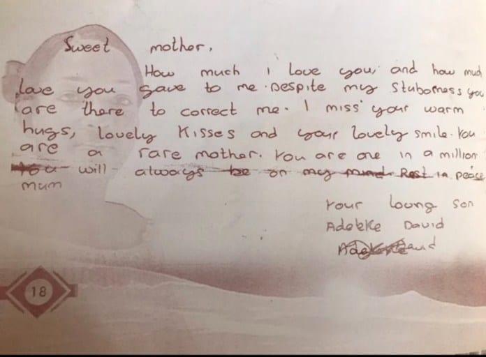 Davido publie une lettre émouvante qu'il a écrite une fois à sa défunte mère